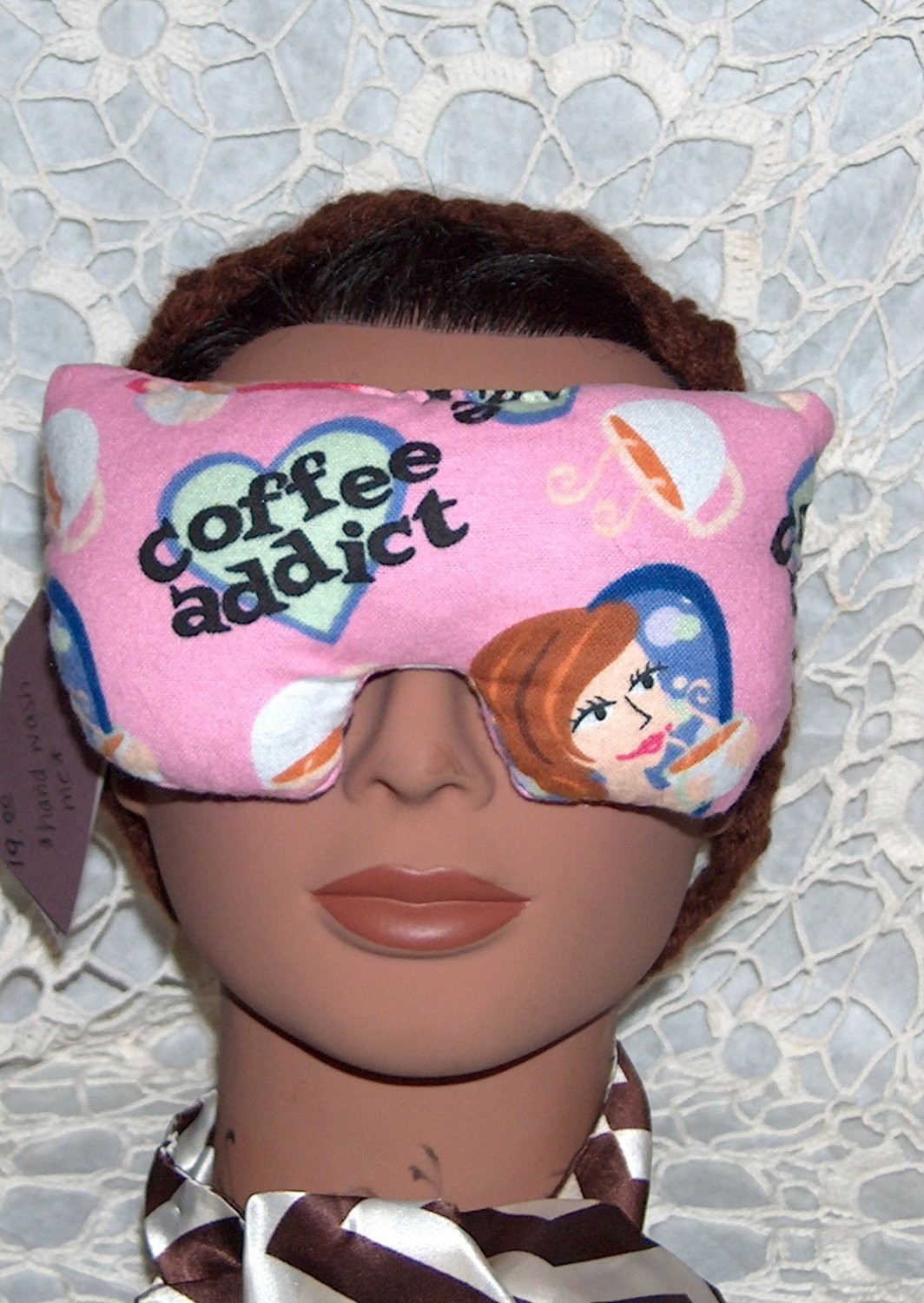 Coffee Addict - pink eye mask-pillow - pink faux pearl ties