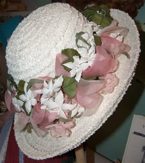 Christian Dior vintage hat white with flowers