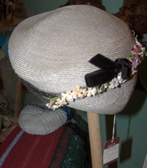 taupe M.Ward vintage hat from Mrs F who owned Valley View Department Store