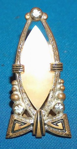 Mother of Pearl and Rhinestone vintage dress clip