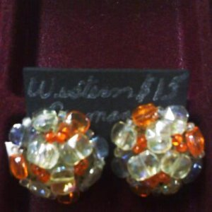 Western Germany orange and clear glass vintage clip earrings