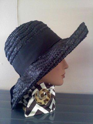 Black  wide-brimmed straw Christine Original Park Ave New York vintage hat