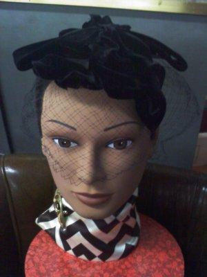 birdcage style veil by Mr John Caprice with black velvet  vintage hat