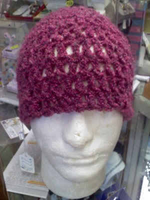 crocheted hat burgundy plum with grey twist - extra large size