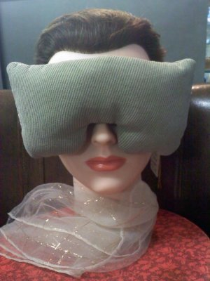 Faux suede light green eye mask pillow with lavender inside - extra wide strap