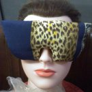 Leopard print and navy blue eye mask pillow with real lavender inside