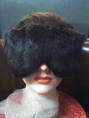 dark brown faux fur and brown satin eye mask-pillow with real lavender inside