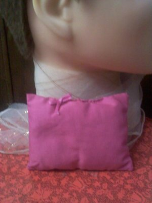 Vintage pink cotton sachet hand-stitched with bow
