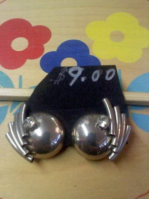 Art Deco style with Rhinestone vintage clip earrings - silvertone