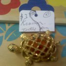 Kramer turtle pin brooch - goldtone