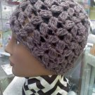 deep plum purple luster -almost a brown- Hand Crocheted hat