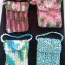 Hand crocheted mini purse - this one is pinks, brown and green