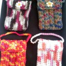 Hand crocheted mini purse - this one is white, peach, melon and pink