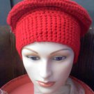Hand Crocheted hat wide band red beret -wear to hike, ski, snowboard, hunt, ice fish, walk