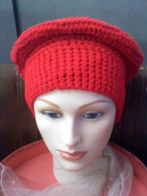 Hand Crocheted hat wide band red beret -wear to hike, ski, snowboard, hunt, ice fish, walk