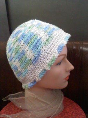Hand crocheted hat blue/green/white- wear to hike, ski, skate, snowboard, walk