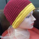 Crocheted hat dark red/gold - wear to hike, ski, snowboard, hunt, ice fish, walk