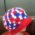 Crocheted hat red/white/blue -wear to hike, ski, snowboard, hunt, ice fish, walk