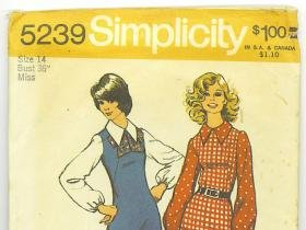 Vintage 1972 sewing patterns Simplicity misses' size 14 uniform and a Jiffy dress