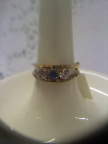 Jewelry store gemstone sample ring vintage gold plated sterling ring size 7