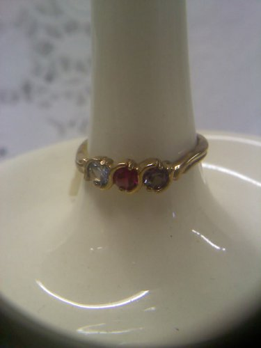 Jewelry store gemstone sample ring vintage gold plated wave design sterling ring size 8