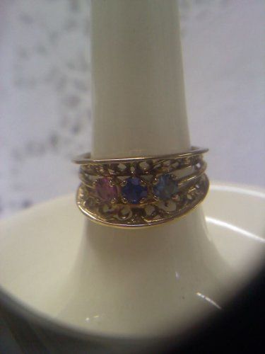 Jewelry store gemstone sample ring vintage gold plated sterling filigree ring size 6