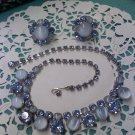 Blue ice rhinestone and moonglow necklace and clip earrings set  - vintage silvertone settings