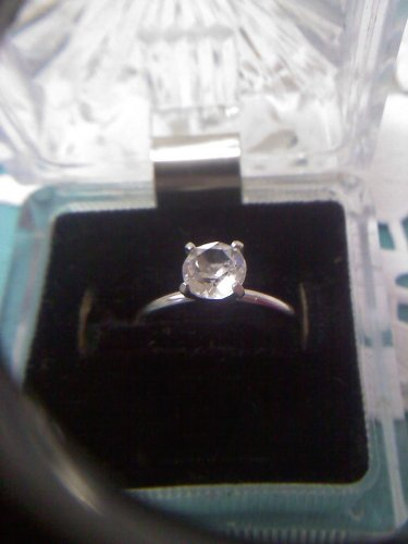 Jewelry store CZ diamond solitaire sample ring - vintage silvertone ring size 9