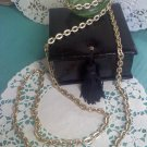 aluminum oval link necklace in textured goldtone vintage - long