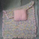 Hand crocheted Doll blanket in pastel pink multi with pink pillow