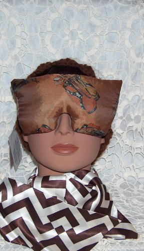 golf print and brown eye mask pillow with lavender inside
