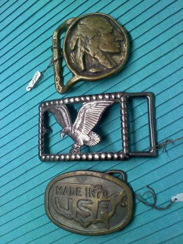 Native American in the style of an Indian Head nickle - vintage belt buckle marked solid brass