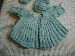 Vintage 80's handmade knitted baby set