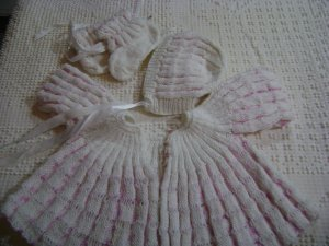 Vintage 80's handmade knitted baby set in pink