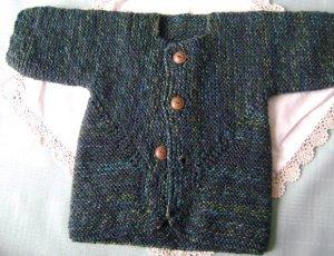 Baby Cardigan Sweater - Blue Green Tweed
