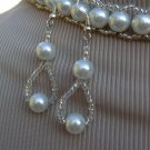 White bridal choker & earrings