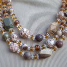 3 strand mixed stone & pressed shell Necklace