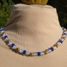 Moonstone, Blue & Gold Necklace