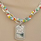 PEACE SIGN DOG TAG ON CHAIN WITH RAINBOW