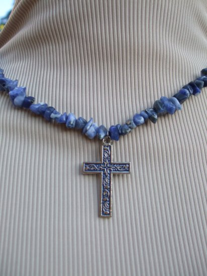 Sodalite Cross Necklace