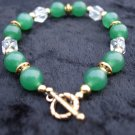 Crystal, gold and green bracelet