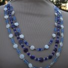 Blue Millefiori, Mother of Pearl Necklace