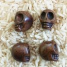 4 Carved Howlite Skull Beads (Chocolate) Large