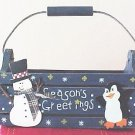 COUNTRY STYLE WOODEN CHRISTMAS BASKET BOX CONTAINER PENGUIN DESIGN