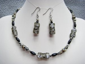 Dalmatian Jasper Gemstone & Dalmatian Lampork Twist Necklace Ear Ring set