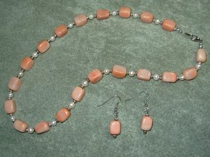 Peach Aventurine Nuggets & White Freshwater Pearl Necklace Ear Ring Set