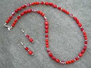Red Coral & Siam Ruby Red Crystal Necklace Ear Ring set