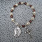Czech Cream & Chocolate Brown Pearl Glass Rosary Bracelet with St. John the Baptist Medal