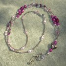 Plum Fossil Gemstones Purple Cats Eye bead Silver Heart Focal Lanyard with Silver Toggle