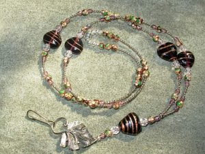 Amethyst Lampwork Glass Hearts Amethyst Crystals Cloisonne beads Lanyard Silver Leaf Toggle